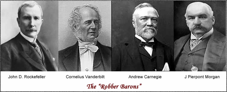 "were vanderbilt carnegie rockefeller robber barrons or captians of industry Captain of industry or robber baron: jp morgan jp morgan was a post-civil war ""captain of industry,"" separating him from the other ""greats"" such as cornelius vanderbilt, john d rockefeller, and andrew carnegie because of his motives and his upbringing."
